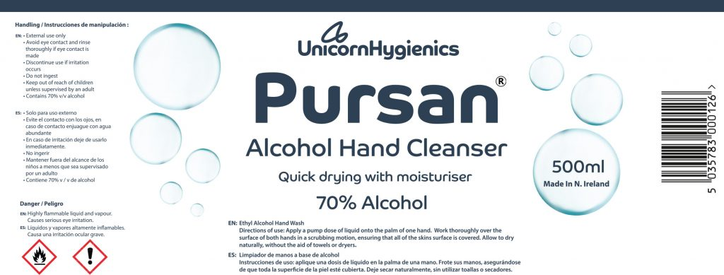 PURSAN 500ml Alcohol Hand Cleanser 70 Percent Alcohol Label