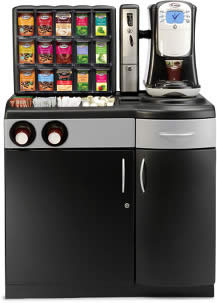 Flavia ® Creation 400 Hot Drink Vending Machine with Flavia ®   Display Merchandiser, Flavia ® Paypod and Flavia ® Base Cabinet with Cup   Tubes