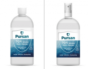 Pursan Alcohol Hand Sanitiser 70% Alcohol 1 Litre Bottles - Screw Cap & Atomiser - New Branding