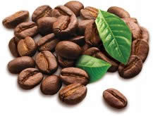 Coffee Beans and Cocoa Leaves